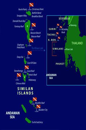 Dive Similan Islands Thailand Dive Map Underwaterclickscom